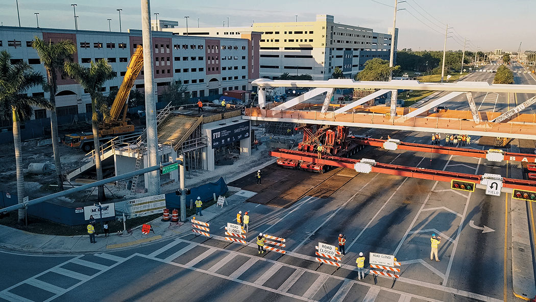 FIU pedestrian bridge March 10 installation