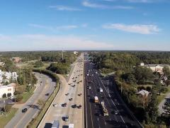 An aerial view of Lane Construction's resurfacing work on I-64 in Virginia