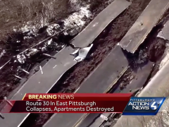 A portion of Rte. 30 in East Pittsburgh collapsed, causing a landslide that destroyed an apartment complex below and has led to the need for demolition of another adjacent apartment complex.