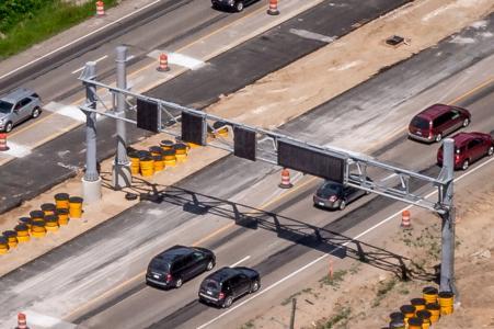 Flex route gantry over U.S. 23 lanes in Michigan